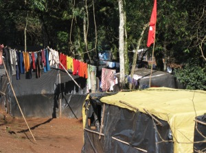 The black plastic tents that families live in during MST land occupations.