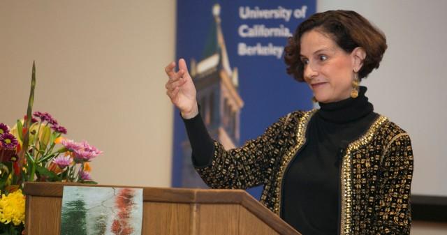 Denise Dresser gives a talk at UC Berkeley.