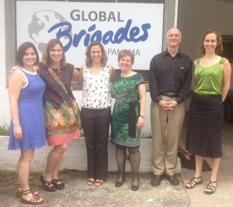 Left to right: Claire Quiner, Laura Telep, Global Brigades Panama Executive Director Gabriela Valencia, Professor Charlotte Smith, EBMUD Production Superintendent Jim Smith, and Rucker Alex at the Global Brigades headquarters in Panama.