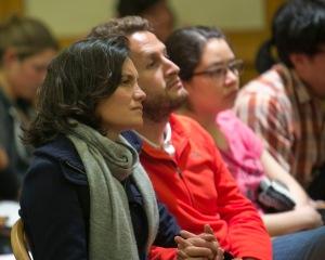 Members of the audience listen to Dresser speak.