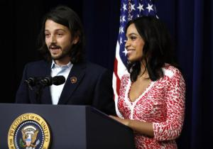"""""""Cesar Chavez"""" producer Diego Luna and star Rosario Dawson at the White House Screening. (Photo courtesy of The Obama Diary.)"""