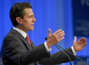 President Enrique Peña Nieto speaks at the World Economic Forum in Davos. (Photo courtesy of the World Economic Forum.)