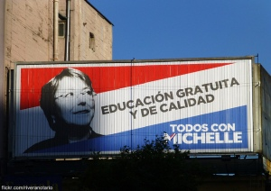 """A Bachelet campaign billboard reads, """"Free, High Quality Education."""" Photo courtesy of RiveraNotario."""