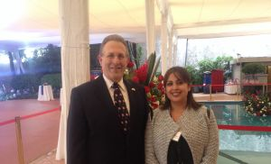 Author with Ambassador Anthony Earl Wayne at his residence for the U.S. Independence Day celebration in Mexico City (credit: Bernadette Hobson)