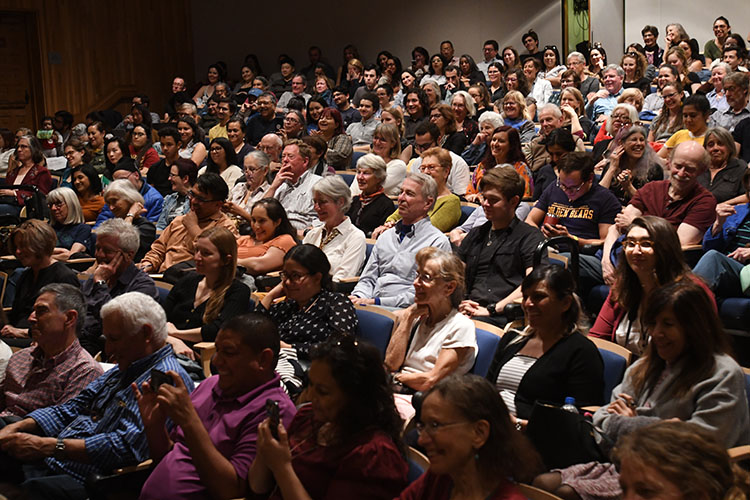 A packed Sibley Auditorium listens to Allende and Hochschild, February 2020. (Photo by Peg Skorpinski.)
