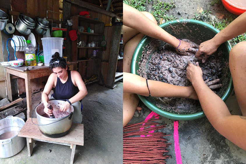 Making chapo de ungurahui by macerating fruits in water (left), and picking out seeds from macerated pulp mixture to use for germination experiments (right). (Photos courtesy of Giovanna Figueroa.)