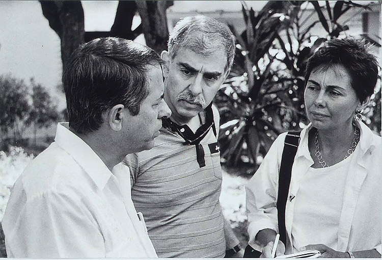 From left: Dr. Jorge Pérez, Dr. Robert Herricks, and Nancy Scheper-Hughes at the sanatorium in 1990. (Photo courtesy of Nancy Scheper-Hughes.)