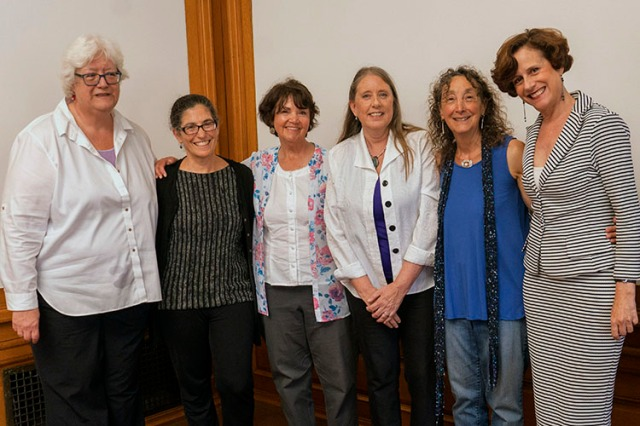 The author, Elizabeth Oglesby (third from right), participated in a panel discussion on migration for CLAS in September 2019, along with The panel (from left): Rosemary Joyce, Paula Worby, Beatriz Manz, the author, Karen Musalo, and Denise Dresser. (Photo by Jim Block.)