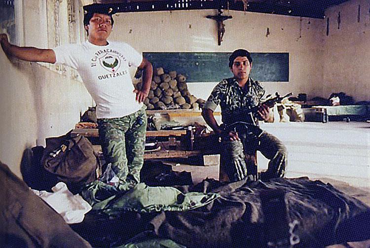 Guatemala's violent history: Paratroopers in a Catholic Church building, Nebaj, Guatemala, March 1983. (Photo courtesy of Beatriz Manz.)