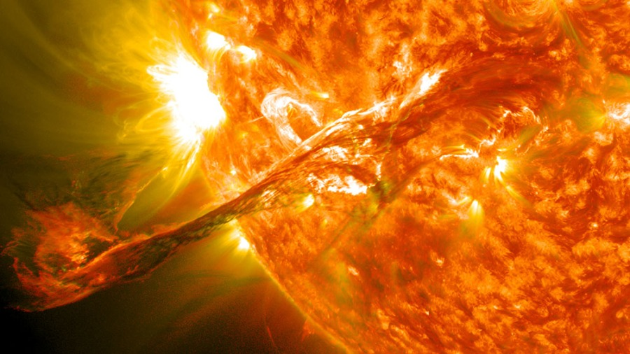 A magnificent solar flare, or coronal mass ejection, erupts from the sun. (Photo
