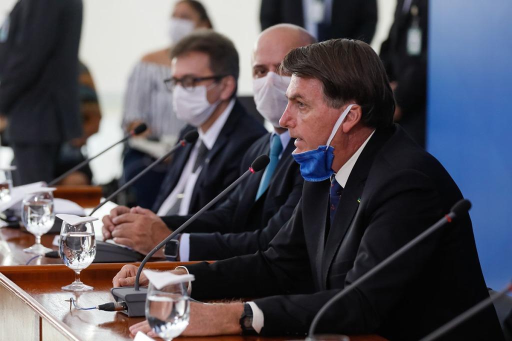 President Jair Bolsonaro of Brazil at a March 2020 press conference. (Photo by Isac Nóbrega/PR.)