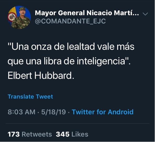Major General Nicacio Martínez's Tweetm metioned above. (Capture by the author of this blog post. Retrieved on 5/18/19.)