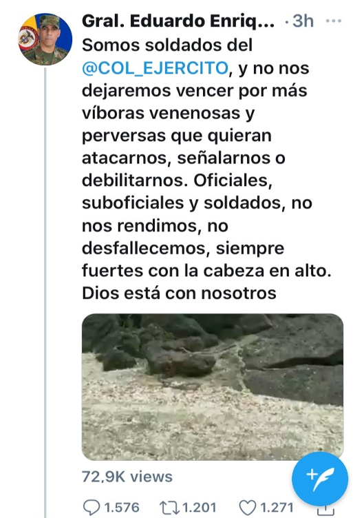 Tweet by General Eduardo Enrique Zapateiro Altamirano mentioned above. (Capture by the author of this blog post. Retrieved on 02/20/2021)