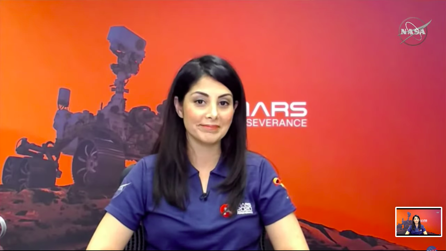 "Diana Trujillo, aerospace engineer at the NASA Jet Propulsion Laboratory. Screenshot from ""Juntos perseveramos: El aterrizaje del rover Perseverance en Marte"" (""Together We Persevere: The Landing of the Perseverance Rover on Mars""). (From NASA En Español YouTube Channel, February 21, 2021.)"